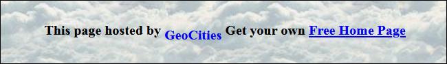 """Un banner """"Esta página está alojada en GeoCities"""" de un sitio web."""