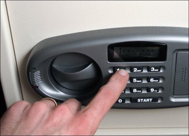 A hotel room safe.