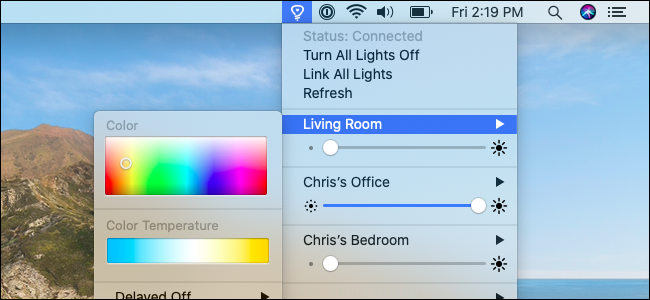 The Colors for Hue menu on macOS.
