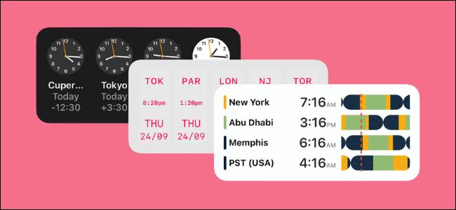 Three world clock widgets.