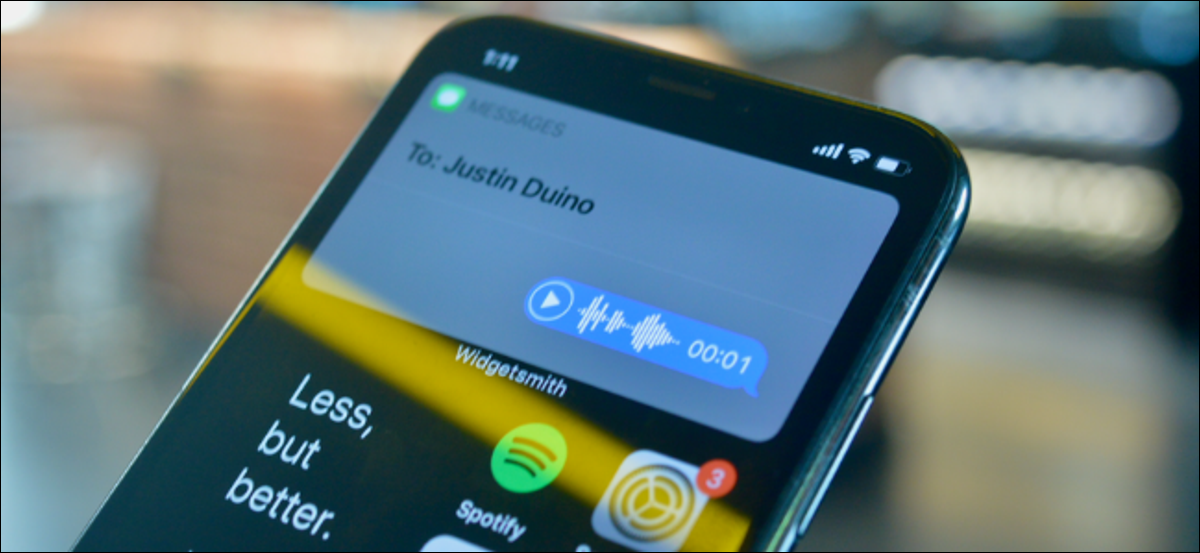 iPhone user sending a voice message using Siri