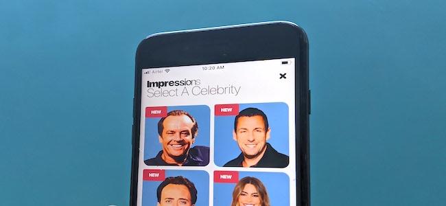 La aplicación Deepfake para iPhone de Celebrity Impressions.