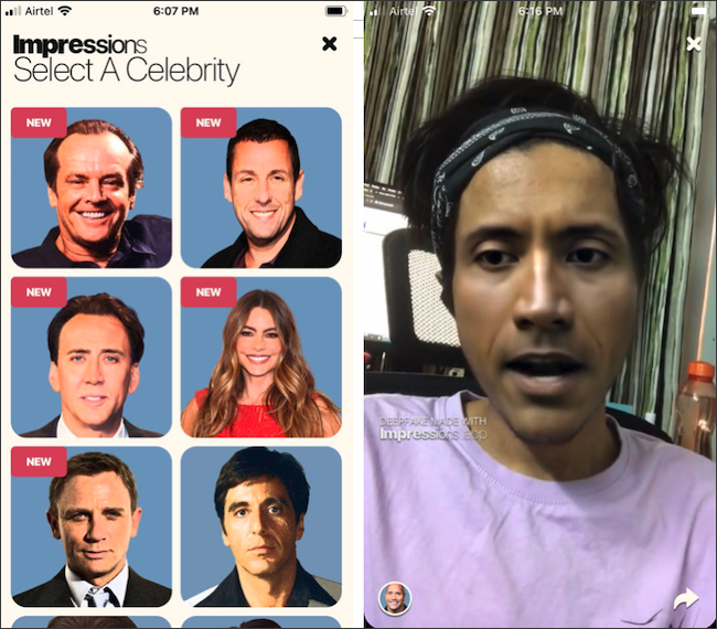 "The ""Select a Celebrity"" menu in Impressions."