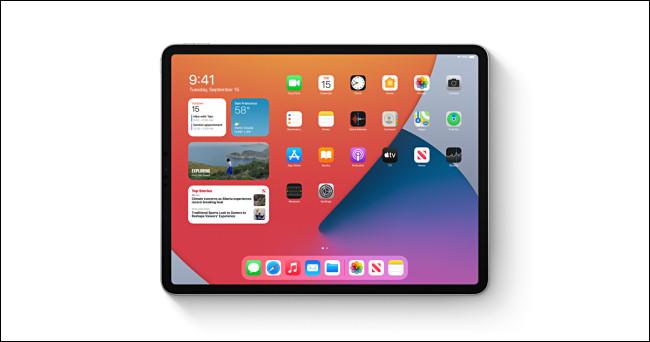 An Apple iPad running iPadOS 14