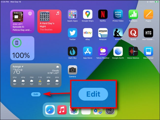 """At the bottom of Today View on your iPad Home Screen, tap the """"Edit"""" button."""
