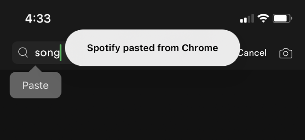 A banner saying Spotify pasted from Chrome on an iPhone