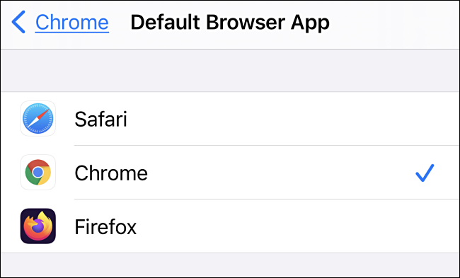 In Default Browser App settings on iPhone, tap the browser app you'd like to use.