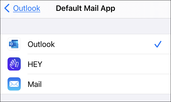 In Default Mail App settings on iPhone, tap the email app you'd like to use.