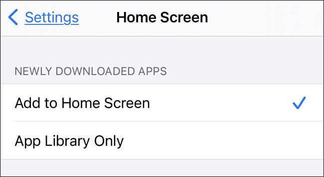 "The ""Home Screen"" menu in iOS 14."