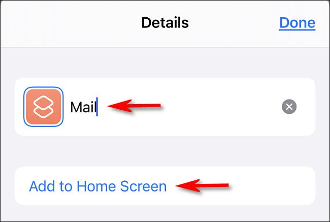 "Type app icon name, tap ""add to home screen."""