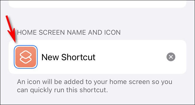 "Tap the filler icon beside ""New Shortcut."""