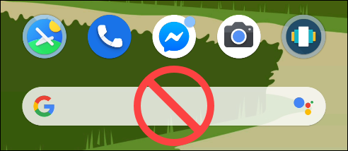 The Google Search Pixel Launcher with a No Symbol over it.
