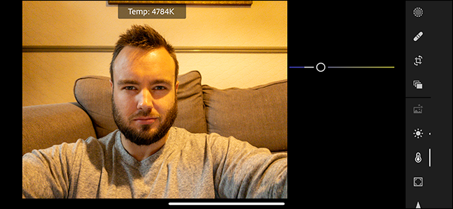 A portrait of a man being adjusted in the Color Correction menu in Adobe Lightroom.