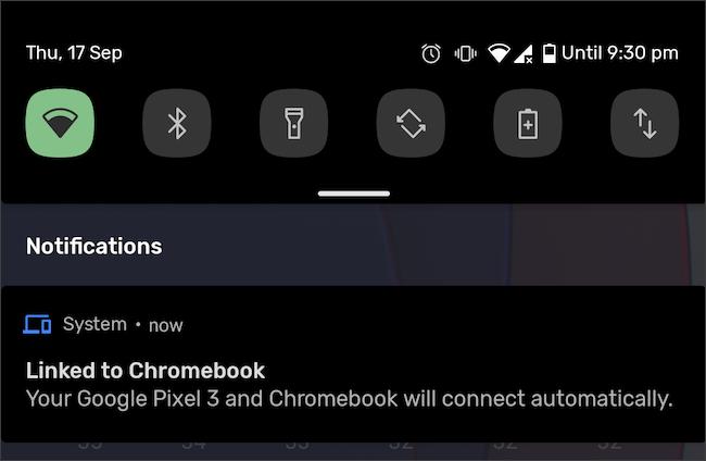 Notificación vinculada al teléfono Android y Chromebook