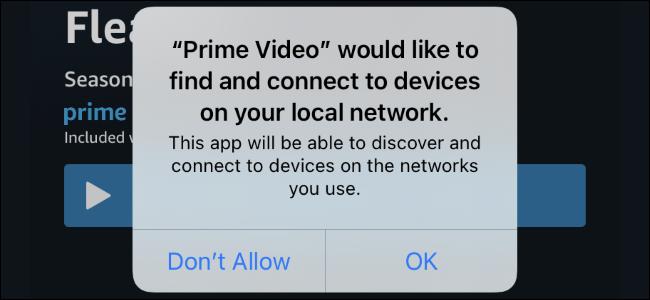 O prompt de permissão da rede local em um iPhone com iOS 14