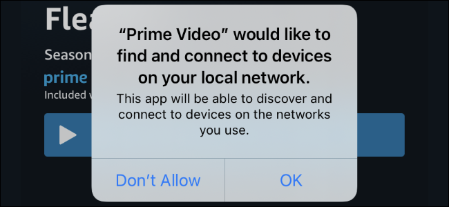 The local network permission prompt on an iPhone with iOS 14