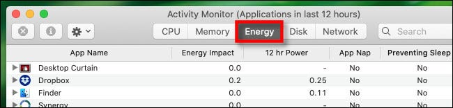 "In Activity Monitor on Mac, click the ""Energy"" tab."