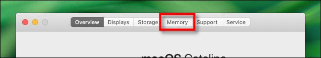 """In the """"About This Mac"""" window, click the """"Memory"""" tab."""