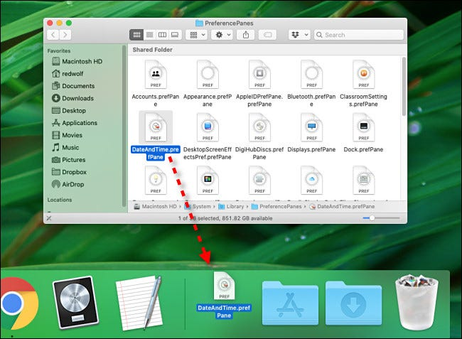 Dragging a preference pane file to the Dock on Mac.