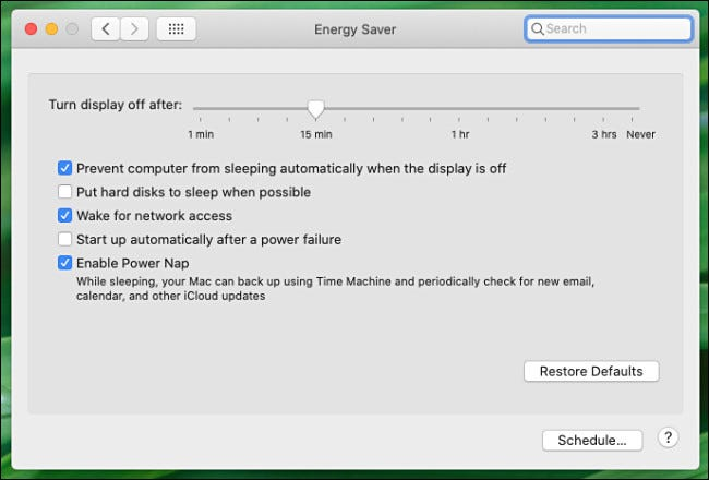Mac System Preferences Energy Saver Preference pane