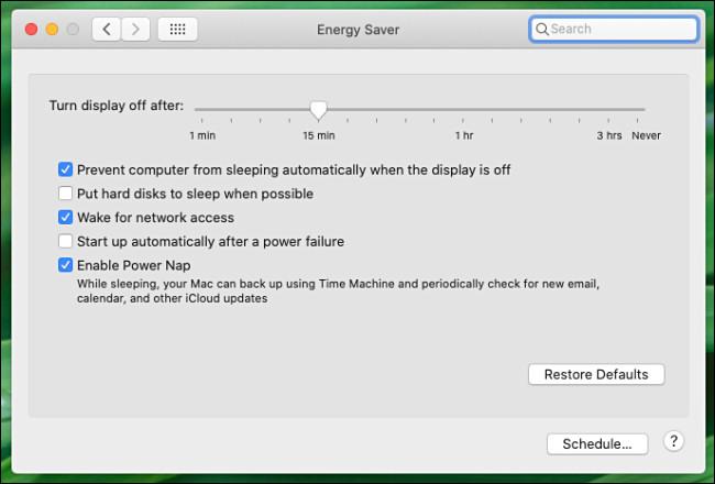 Mac System Preferences Energy Saver Preference pane