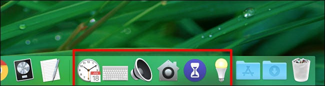 Several preference pane shorcuts located in the Mac Dock.