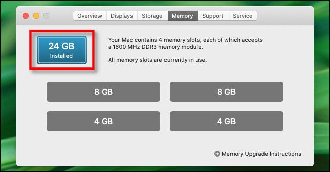 "In the ""Memory"" tab, you will see the total amount of memory installed."