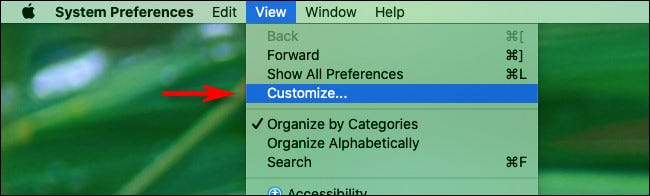 """In Mac System Preferences, click """"View"""" and then """"Customize"""""""