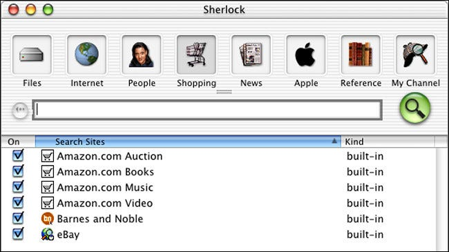 A Sherlock search window on Mac OS X Public Beta.