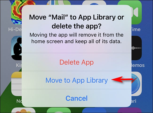 """Tap """"Move to App Library"""""""