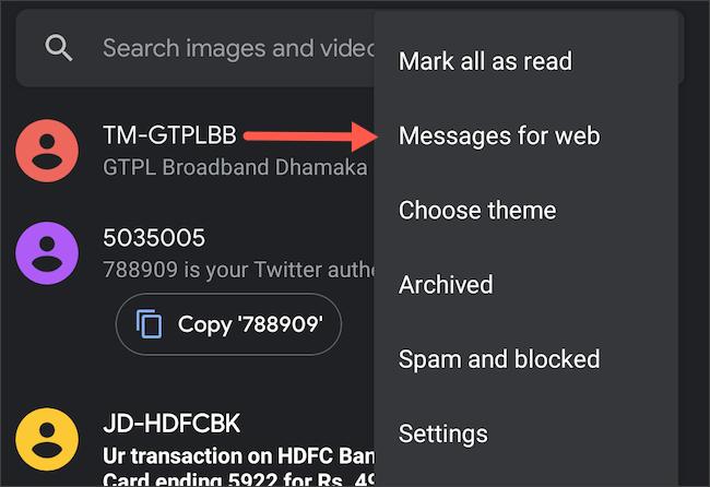 """Toca la opción """"mensajes para la web"""" en Mensajes de Android"""