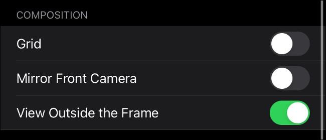 """El menú """"Composición"""" en iPhone."""