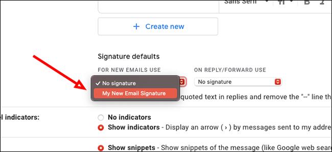 Choose your default signature