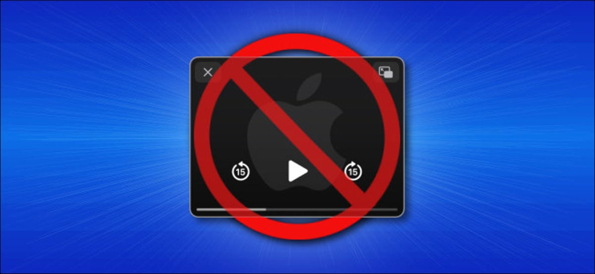 A no symbol over an iPhone showing the Picture-in-Picture icon.
