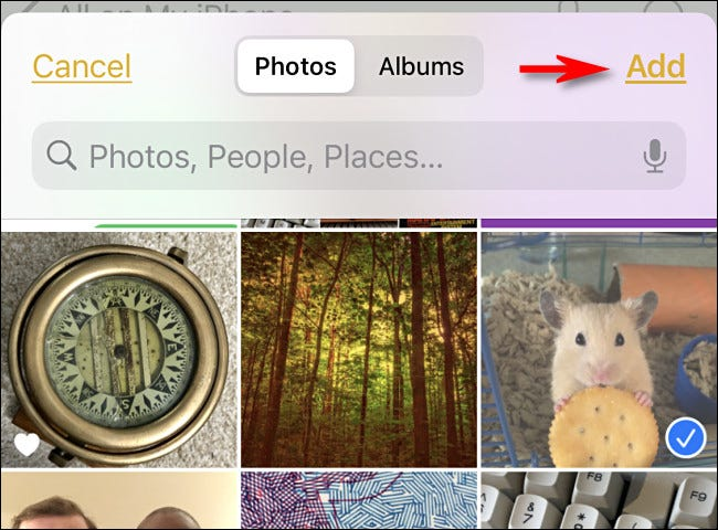 """Tap the photos you want to add, and then tap """"Add."""""""