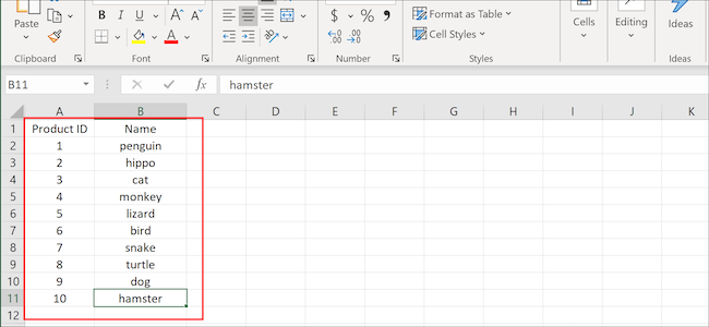 Excel columns and rows