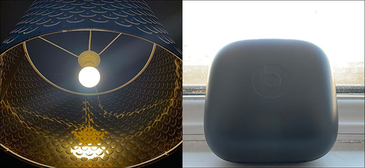 A dark photo of a lamp, and a bright photo of a case sitting on a windowsill.