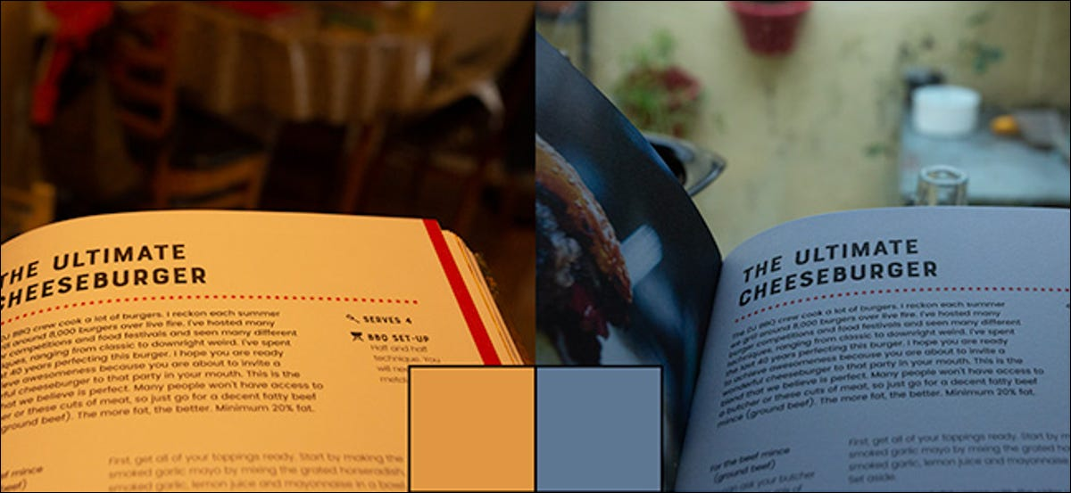 Two images of a page from a book showing the difference in a white balance preview.