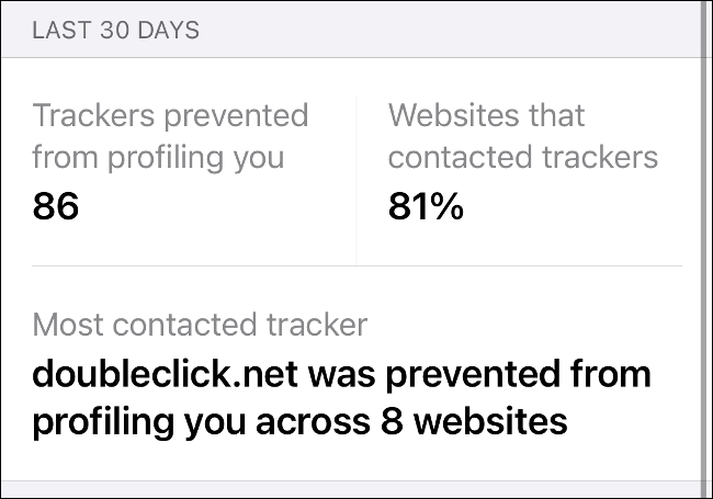 A Privacy Report in Safari on iOS 14.