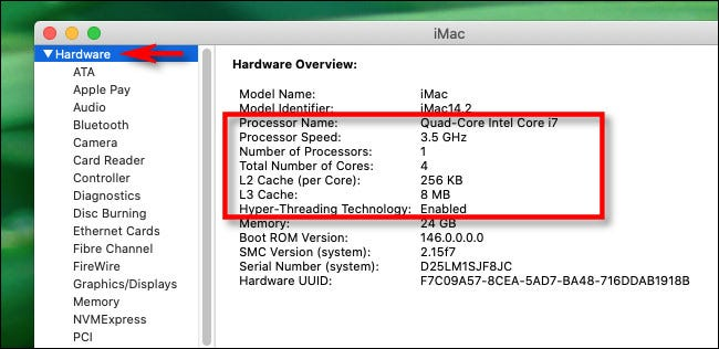 "The ""Hardware"" CPU details."