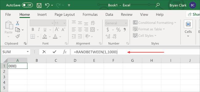 Excel random number formula