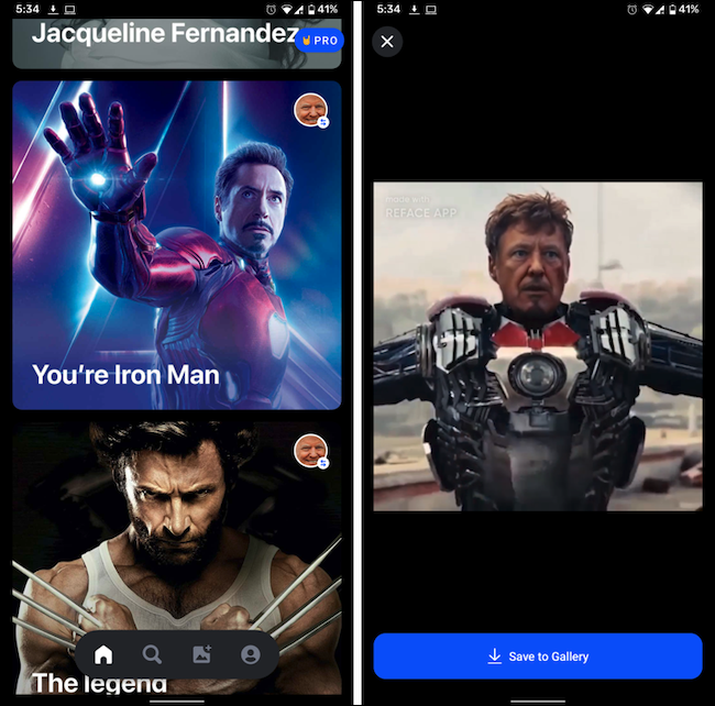 Three GIFs of movie characters in the Reface app.