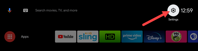 android tv select settings menu