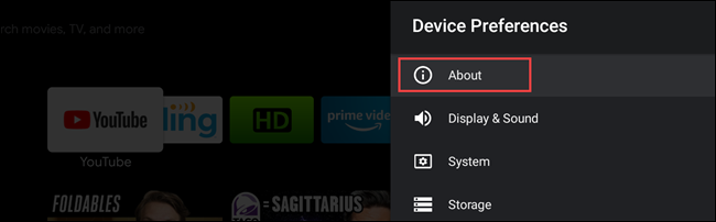 android tv about settings