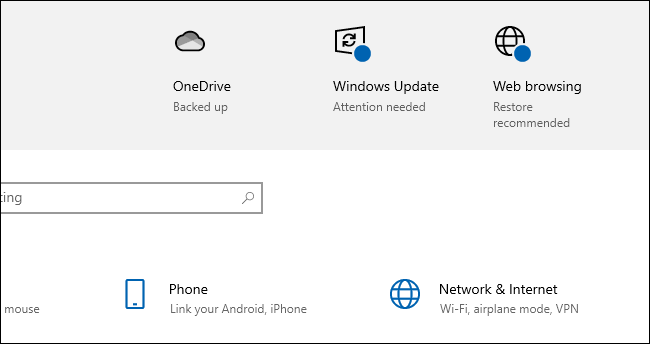 """Windows 10 saying you should """"Restore recommended"""" web browsing settings."""
