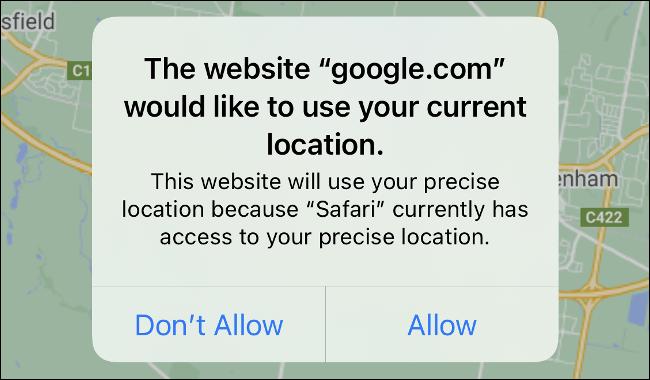 The Safari location prompt in iOS 14.