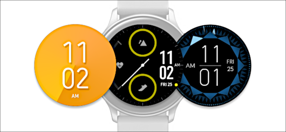 Multiple watch faces next to a Samsung Galaxy Watch