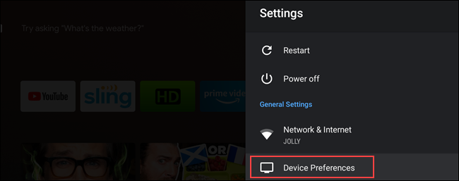 "Select ""Device Preferences."""