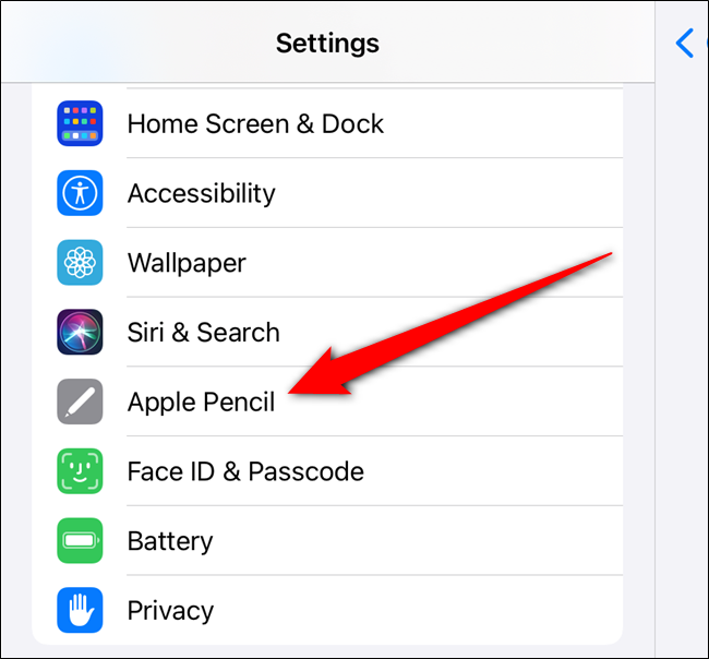 "Scroll down and then select the ""Apple Pencil"" option from the left pane"