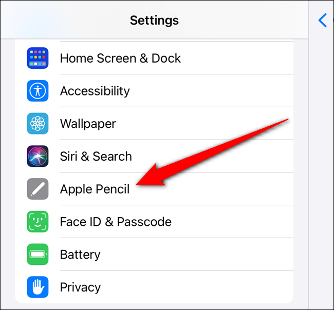 """Scroll down and then select the """"Apple Pencil"""" option from the left pane"""